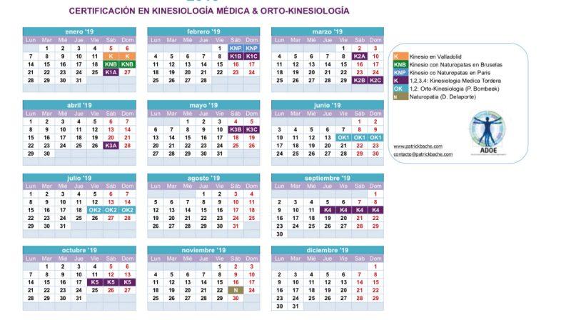 Calendario 2019 ADOE